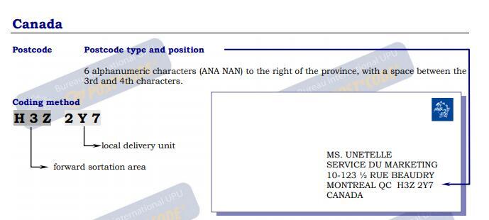 postal code example canada