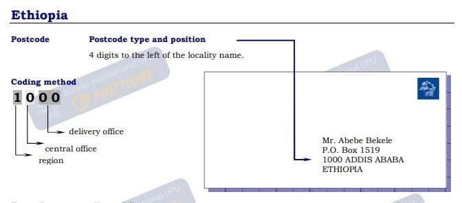 Ethiopia - Postal Code | Post Code | Postcode | ZIP Code ✉️
